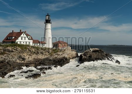 Frothy Waves At Portland Head Lighthouse - Cape Elizabeth, Maine, Usa