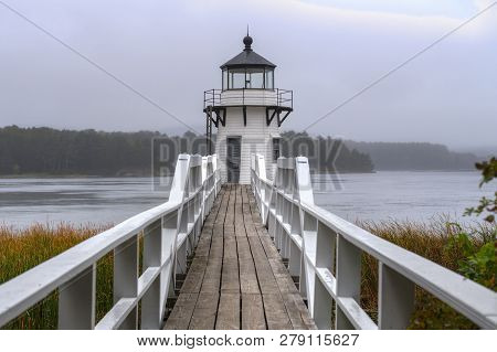 Doubling Point Lighthouse Walkway Straight On Fog - Arrowsic Island, Kennebec River, Maine, Usa