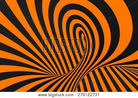 Tunnel Optical 3d Illusion Raster Illustration. Contrast Lines Background. Hypnotic Stripes Ornament
