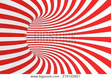 Swirl Optical 3d Illusion Raster Illustration. Contrast Red And White Spiral Stripes. Geometric Toru