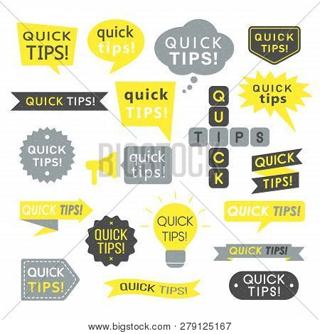 Advice, Quick Tips, Helpful Tricks And Suggestions Logos, Emblems And Banners With Grunge Texture. H