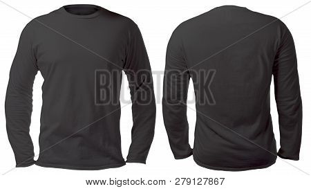 Blank Long Sleeved Shirt Mock Up Template, Front And Back View, Isolated On White, Plain Black T-shi