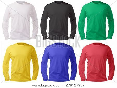 Blank Long Sleeved Shirt Mock Up Template, Front And Back View, Isolated On White, Plain T-shirt Moc