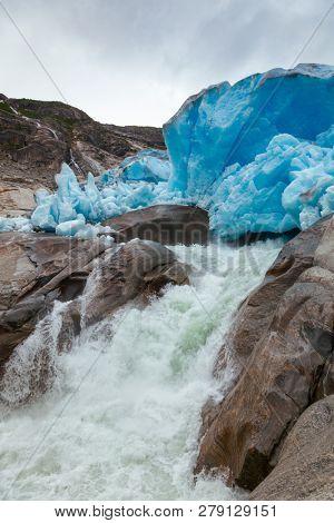 Nigardsbreen Glacier terminal face, Jostedalsbreen National Park, Sogn og Fjordane, Norway, Scandinavia. Nigardsbreen is a glacier arm of the large Jostedalsbreen glacier