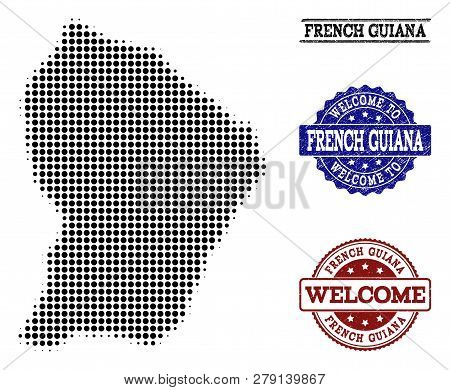 Welcome Collage Of Halftone Map Of French Guiana And Dirty Seals. Halftone Map Of French Guiana Desi