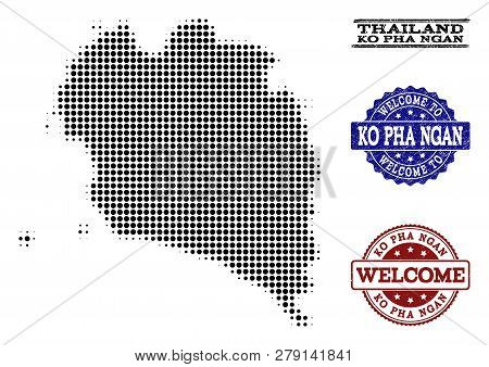 Welcome Combination Of Halftone Map Of Ko Pha Ngan And Grunge Stamps. Halftone Map Of Ko Pha Ngan Co