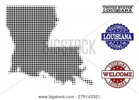 Welcome Composition Of Halftone Map Of Louisiana State And Textured Seals. Halftone Map Of Louisiana