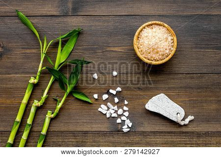 Asian Spa Background. Spa Treatment Concept. Bamboo Branch, Spa Cosmetics On Dark Wooden Background