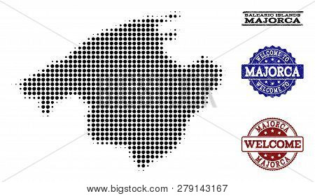 Welcome Composition Of Halftone Map Of Majorca And Unclean Seals. Halftone Map Of Majorca Designed W
