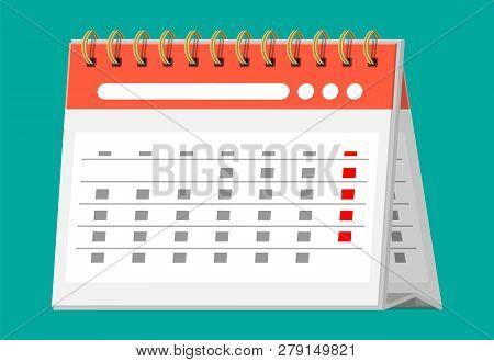 Paper Spiral Wall Calendar. Calendar Flat Icon. Schedule, Appointment, Organizer, Timesheet, Importa
