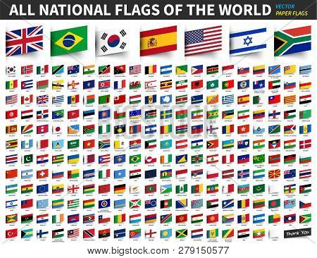All national flags of the world . Inserted paper design . poster