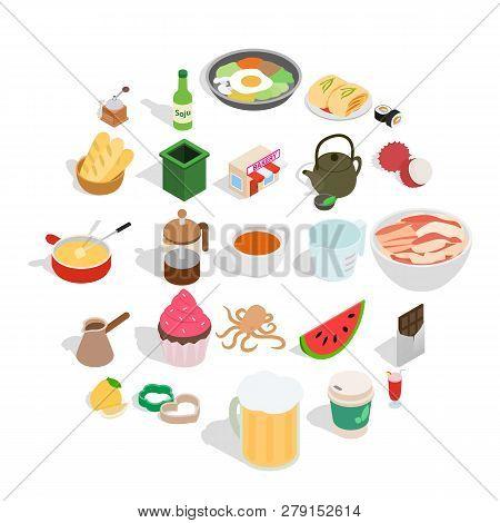 Culinary Esthete Icons Set. Isometric Set Of 25 Culinary Esthete Vector Icons For Web Isolated On Wh