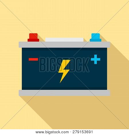 Car Battery Icon. Flat Illustration Of Car Battery Vector Icon For Web Design