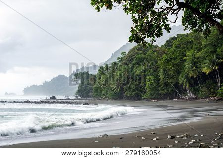Secluded, Empty Beach And Jungle At Corcovado National Park, Costa Rica