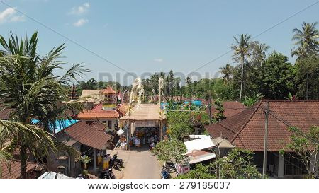 Bali, Indonesia - October 9, 2018: Aerial View Of Balinese Ceremony In A Small Village Close To Ubud