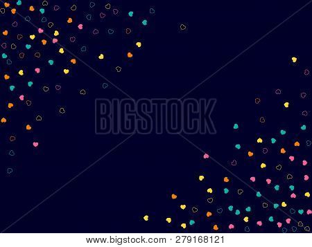 Hearts. Vector Background With Small Hearts. Template For Happy Valentines Day Greeting Cards. Confe