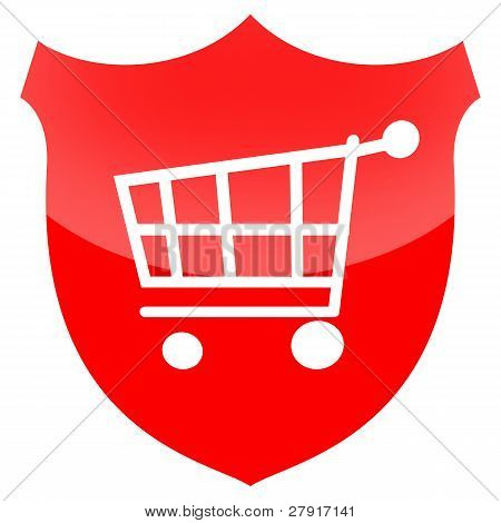 Shopping cart on secutity shield