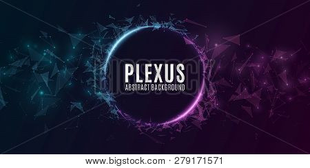 Geometric Plexus Banner Of Flying Triangles And Dots On A Dark Background. Purple And Blue Glowing C