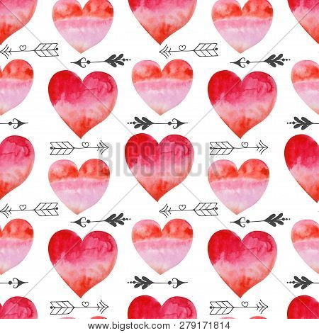 Watercolor Valentines Seamless Pattern With Pink Hearts, Arrows And Twigs