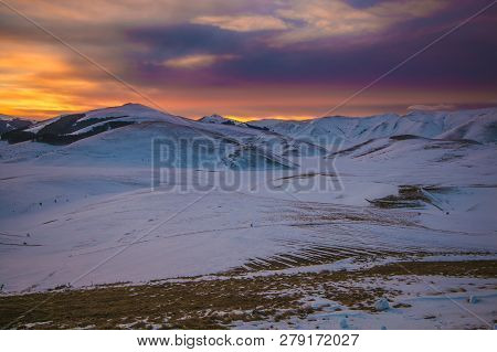 Amazing Sunset On The Monti Sibillini National Park In Umbria