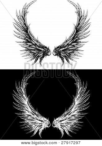 Silhouette of wings made like ink drawing. Black on white and white on a black background poster