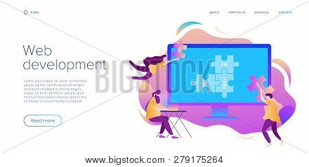 Web Development Concept In Flat Design. Developers Or Designers Working At Internet App Or Online Se