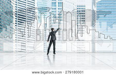 Young Businessman In Suit At Balcony Against Morning Cityscape Background. 3d Rendering