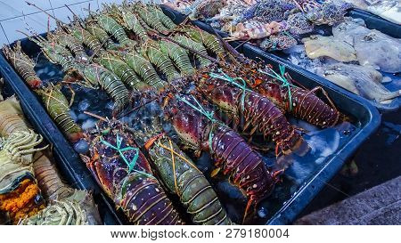 Fresh Seafood Abound In Kota Kinabalu, Sabah Borneo,malaysia.seafood Stalls In The City Centre Is At