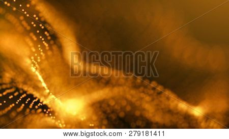 Structure of waving lines with lights and particles over it. Orange and yellow abstract technology, engineering and science background. Depth of field settings. 3D rendering.
