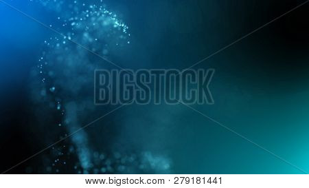 Blue and green particles cloud. Abstract technology, science and engineering background. Depth of field settings. 3D rendering.