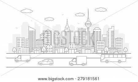 Modern Urban Landscape. City Life Illustration With House Facades,road And Other Urban Details. Line