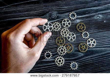 Concept Hour Metal Gears On Wooden Background Top View