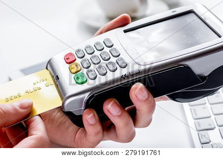 Payment By Card In Cafe With Keyboard On White Background