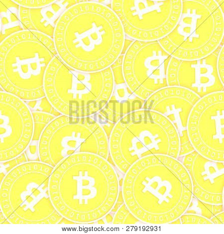 Bitcoin, Internet Currency Gold Coins Seamless Pattern. Radiant Scattered Yellow Btc Coins. Success