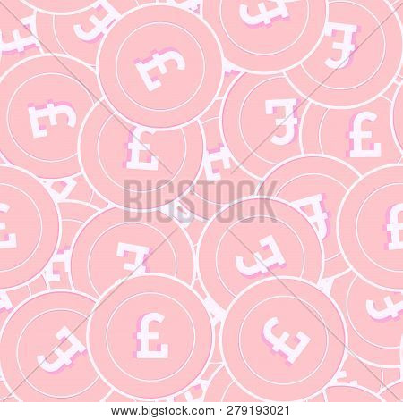 British Pound Copper Coins Seamless Pattern. Emotional Scattered Pink Gbp Coins. Success Concept. Un