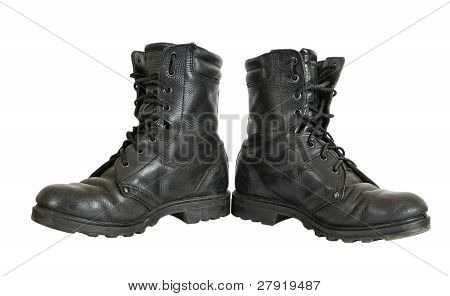 Used Military Boots Isolated On White Background