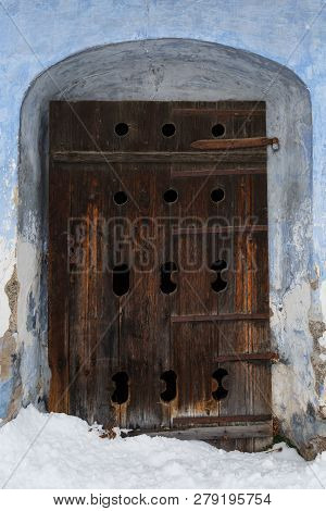 Carved Wooden Door Of A Traditional Granary In Bela-dulice Village, Northern Slovakia.