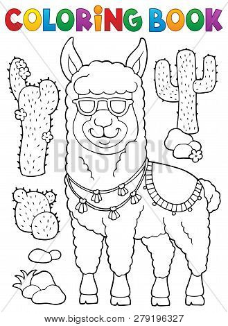 Coloring Book Llama With Sunglasses 1 - Eps10 Vector Picture Illustration.