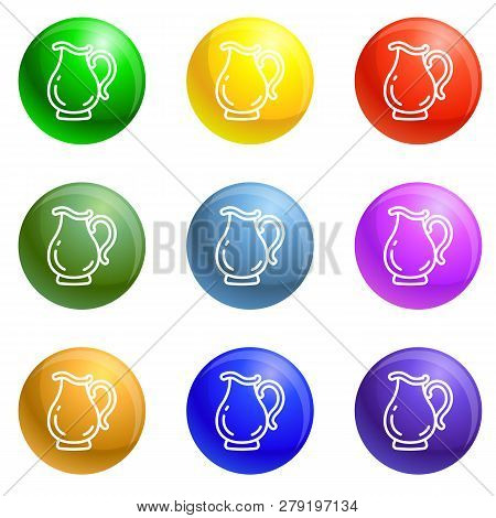 Jug Icons Vector 9 Color Set Isolated On White Background For Any Web Design