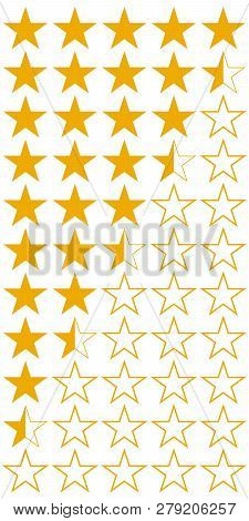 Five 5 Stars Product Quality Rating Set Of Icons, Vector Yellow Flat Stars With Half Hotels And Wine