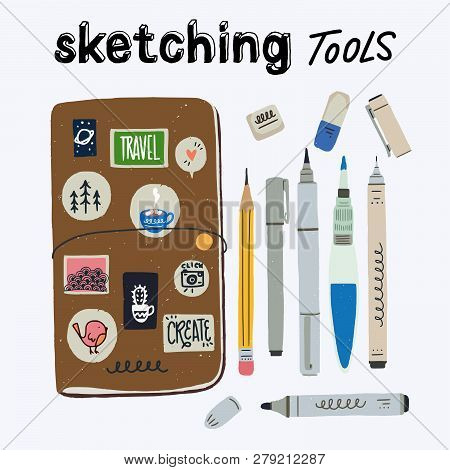 Set Of Tools For Urban Sketching. Travel Journaling Essentials - Sketchbook In Cover, Water Brush, P