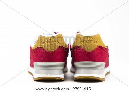 Boston, Ma, Usa, January 2019 - Pair Ofnew Balance Nb 574 Athletic Shoes On Studio Background. New B