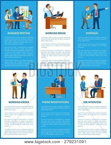 Business And Work, Boss And Employees. Meeting And Break, Dismissal And Working Order, Phone Negotia