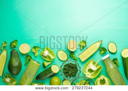 Green Vegetables On A Green Background. Composition Of Detox And Healthy Nutrition, Healthy Food Die