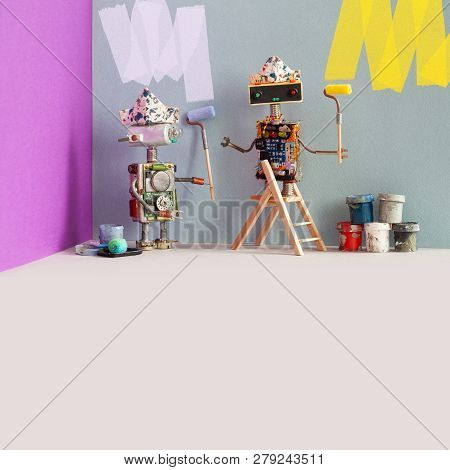 Decorators Robots Repaints The Wall Of The Room. Funny Painters Robotic Toys, Indoors Interior Redec