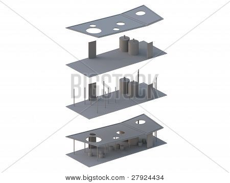 Architecture Exploded in axonometric,a presentation show an elements of architecture. poster