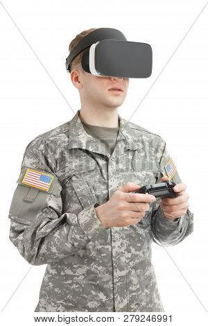 Indoors Close Up Shot Of Military Man Working With Vr Glasses And Controller