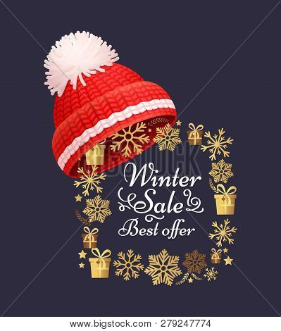 Winter Sale Best Offer Poster Knitted Red Hat On Golden Snowflakes Frame. Warm Headwear Item, Cloth