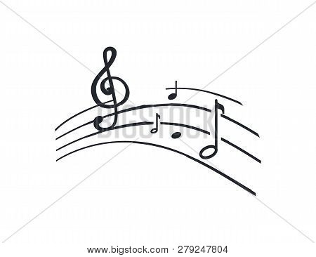 Music Notes And Melody Tablature, Sounds Signs Monochrome Sketch Outline Vector Line Art. Song Symbo