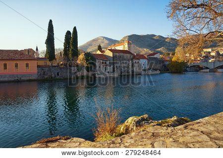View Of Old Town Of Trebinje And Trebisnjica River On Sunny Winter Day. Bosnia And Herzegovina, Repu
